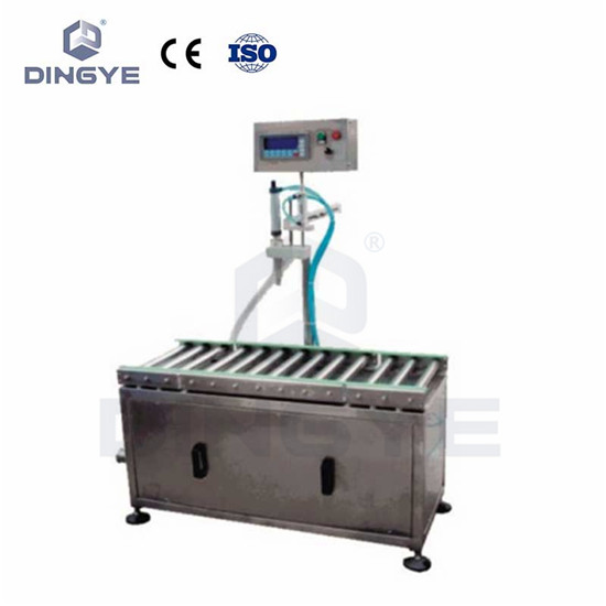 Liquid filling machine with weighing system
